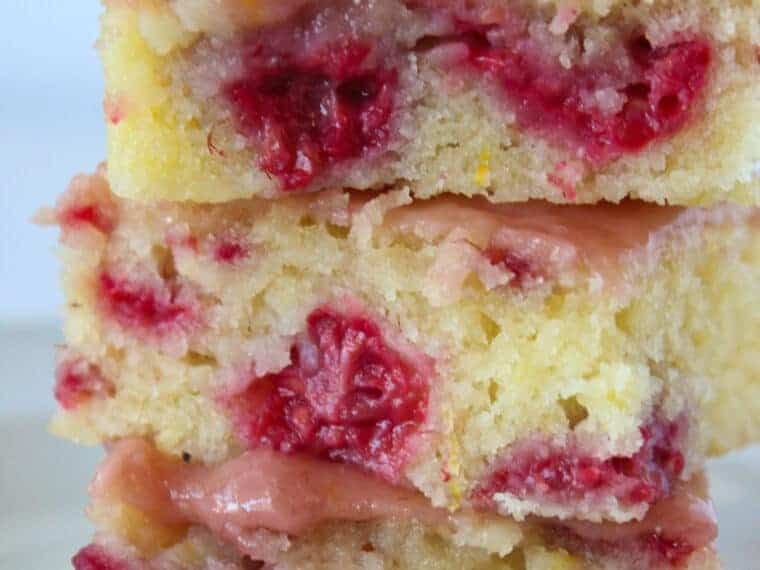 Raspberry Lemonade Bars Recipe featured by top US dessert blog, Practically Homemade