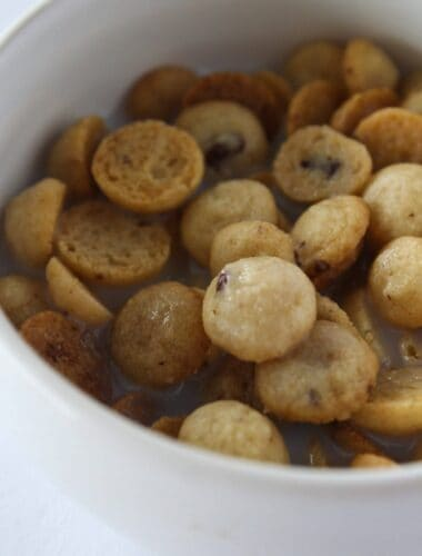 Breakfast Recipes: Homemade Cookie Crisp Cereal featured by top US dessert blogger, Practically Homemade