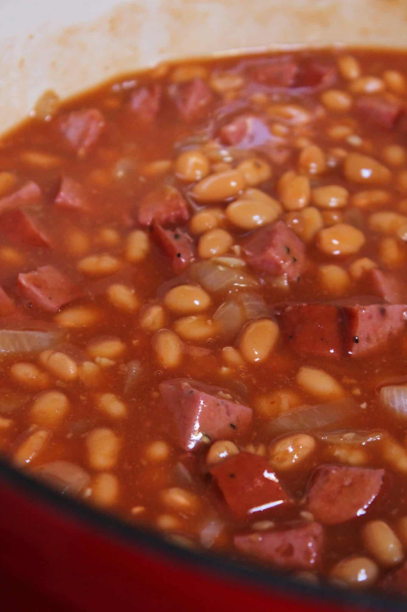 BBQ Side Dish: Smoked Sausage Baked Beans Recipe featured by top US food blogger, Practically Homemade