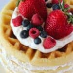Layered Vanilla Waffle Cake Recipe featured by top US dessert blog, Practically Homemade