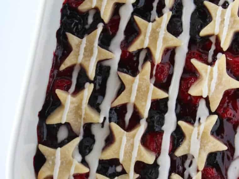 Patriotic Desserts: 4th of July Star Spangled Banner Bars, a recipe featured by top US dessert blogger, Practically Homemade