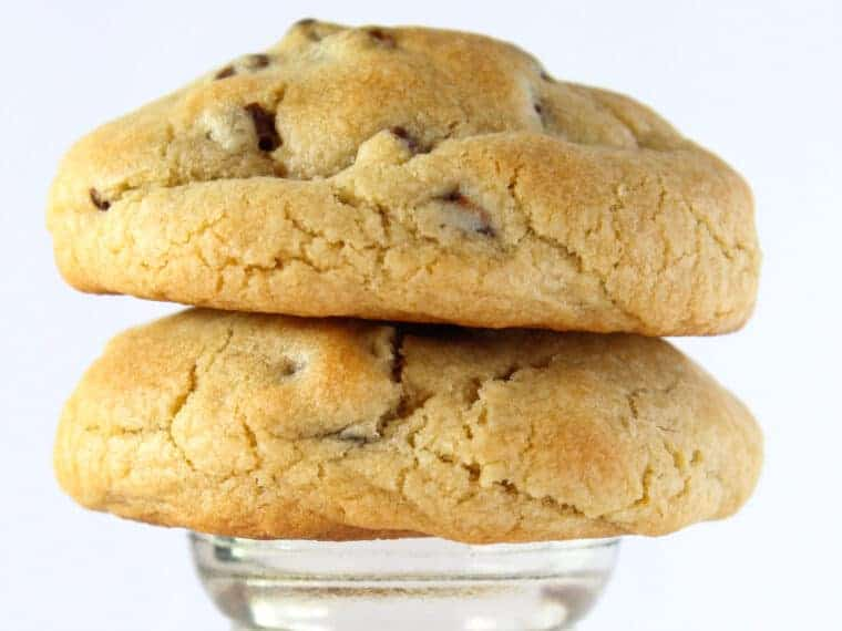 Super Thick Chocolate Chip Cookies recipe featured by top US cookie blogger, Practically Homemade.