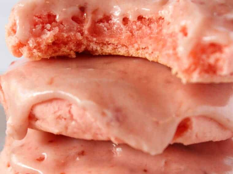 Summer Cookies: Easy Strawberry Sheet Cake Mix Cookies featured by top US cookie blogger, Practically Homemade