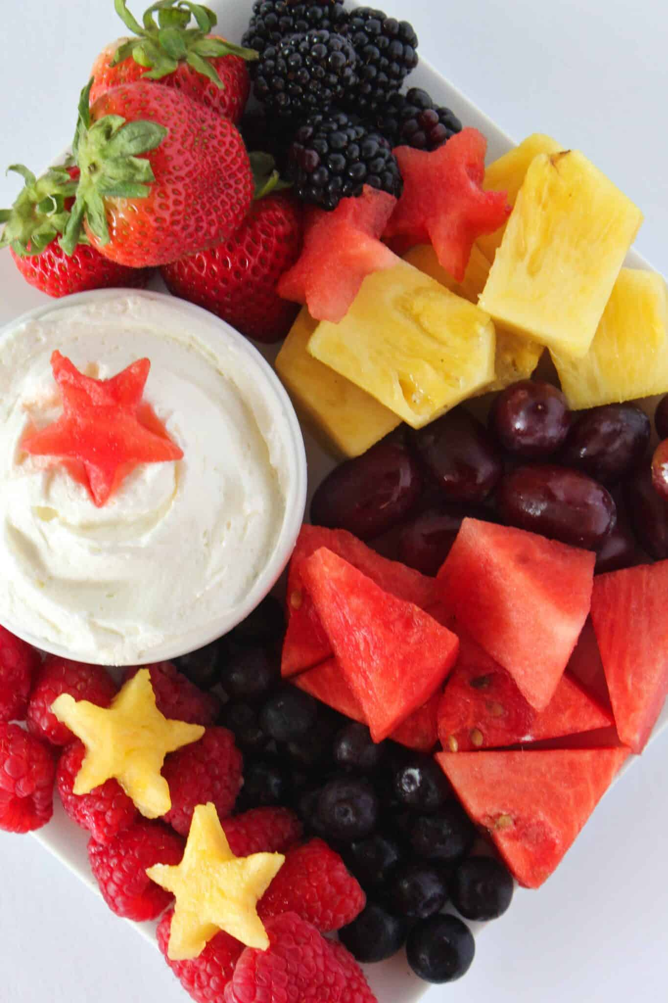 Patriotic Desserts: a Festive 4th of July Fruit Tray featured by top US dessert blogger, Practically Homemade