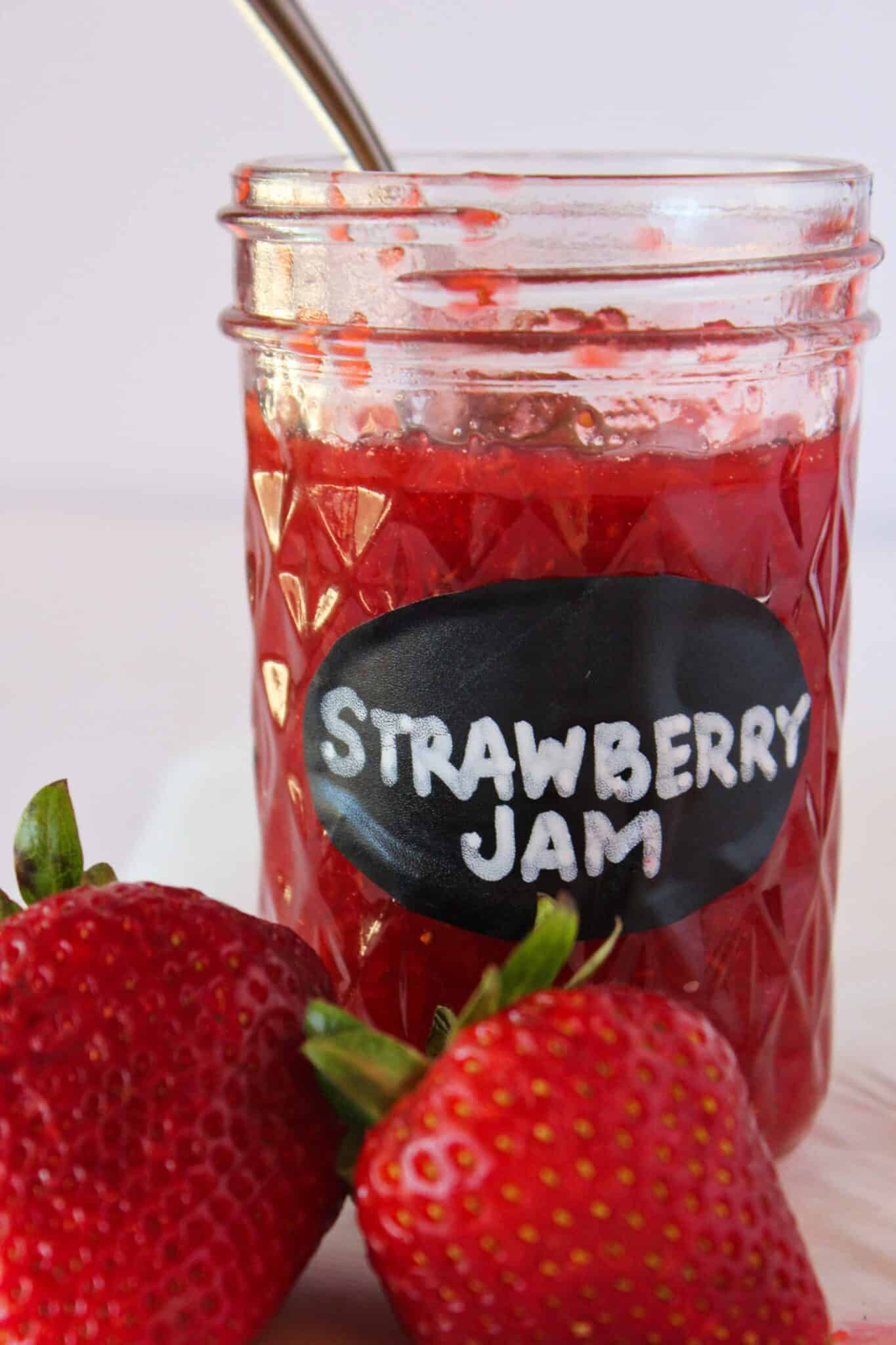 Quick and Easy No Pectin Strawberry Jam featured by top US food blogger, Practically Homemade