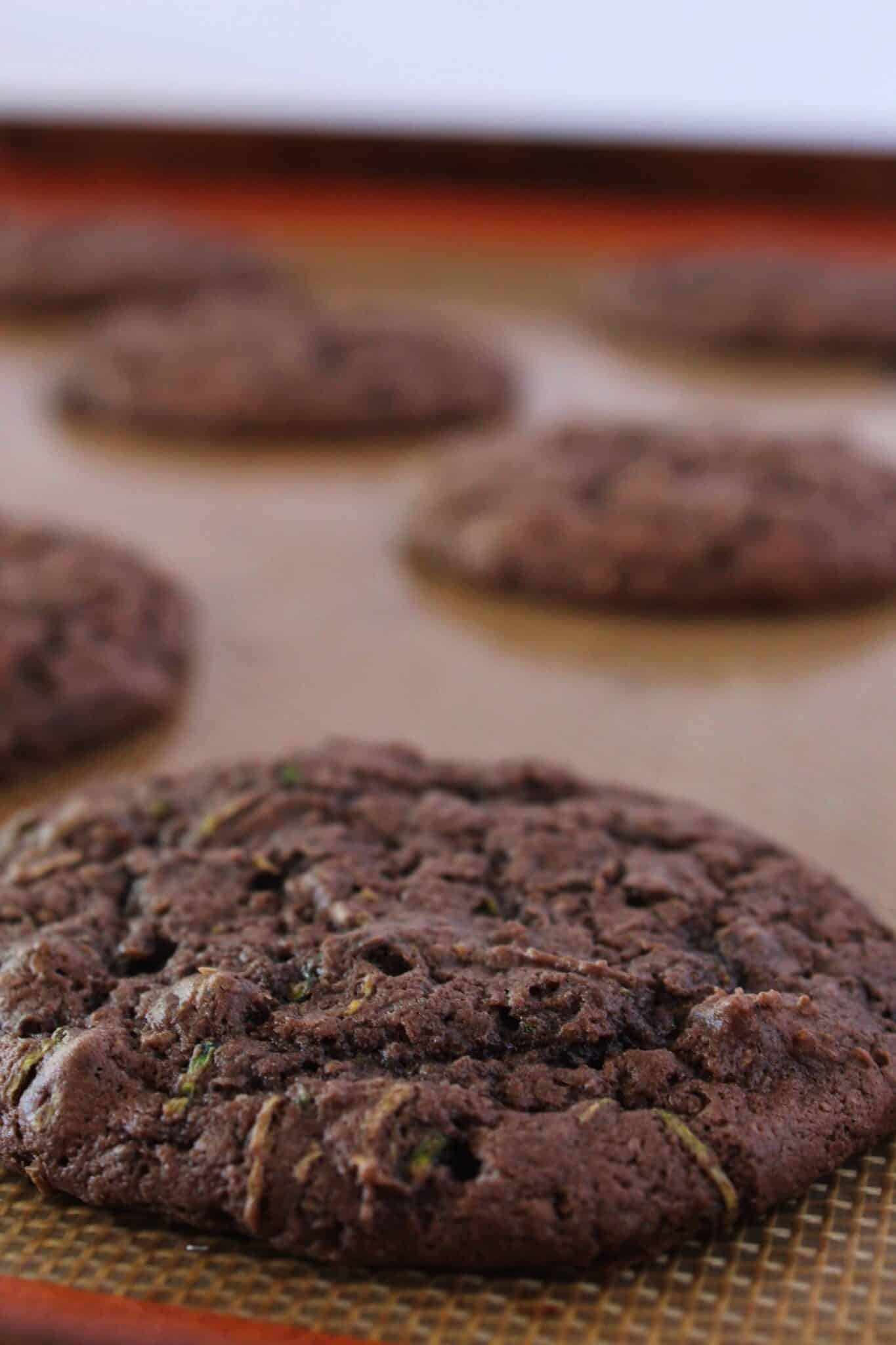 Incredible Chocolate Zucchini Sheet Cake Cookies featured by top US cookies blogger, Practically Homemade