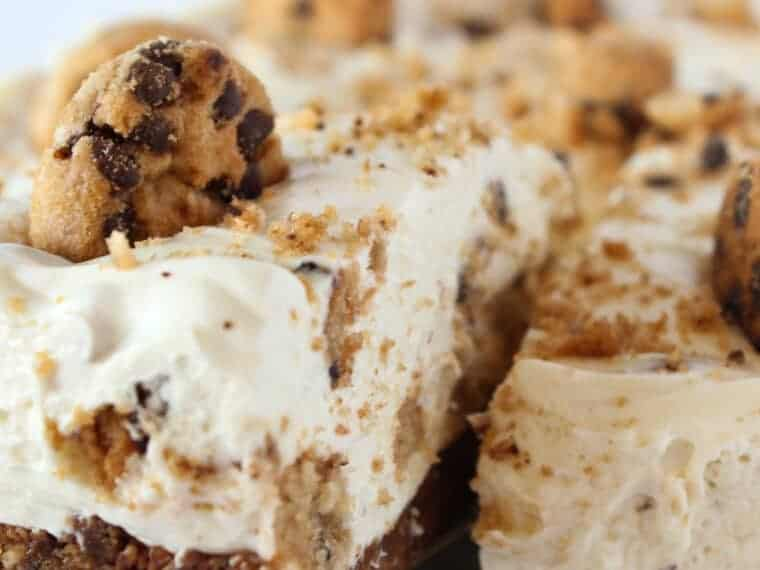 No Bake Chocolate Chip Cookie Cheesecake Recipe featured by top US dessert blogger, Practically Homemade