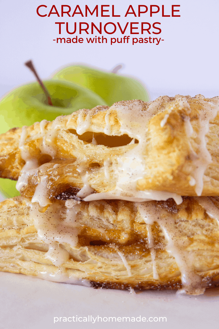 Easy Caramel Apple Turnovers Recipe featured by top US dessert blogger, Practically Homemade