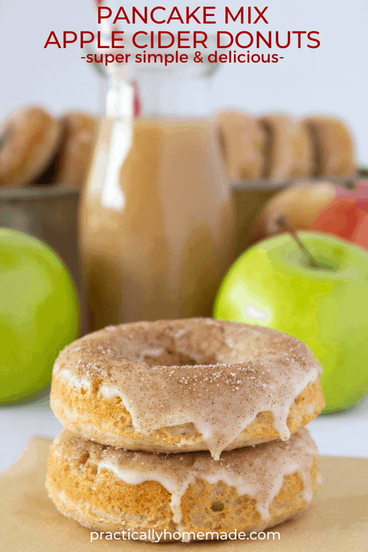 Pancake Mix Apple Cider Donuts Recipe featured by top US dessert blogger, Practically Homemade