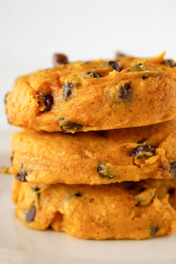 Top US cookies blogger, Practically Homemade, shares her Cake Mix Pumpkin Chocolate Chip Cookies recipe, perfect for Fall.