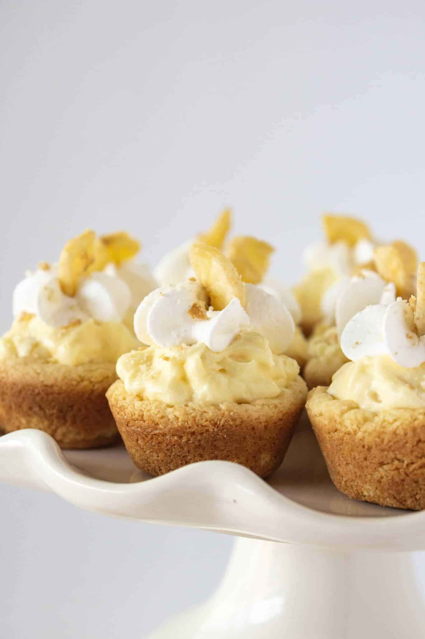 Banana Pudding Cookie Cups Recipe featured by top US cookie blogger, Practically Homemade