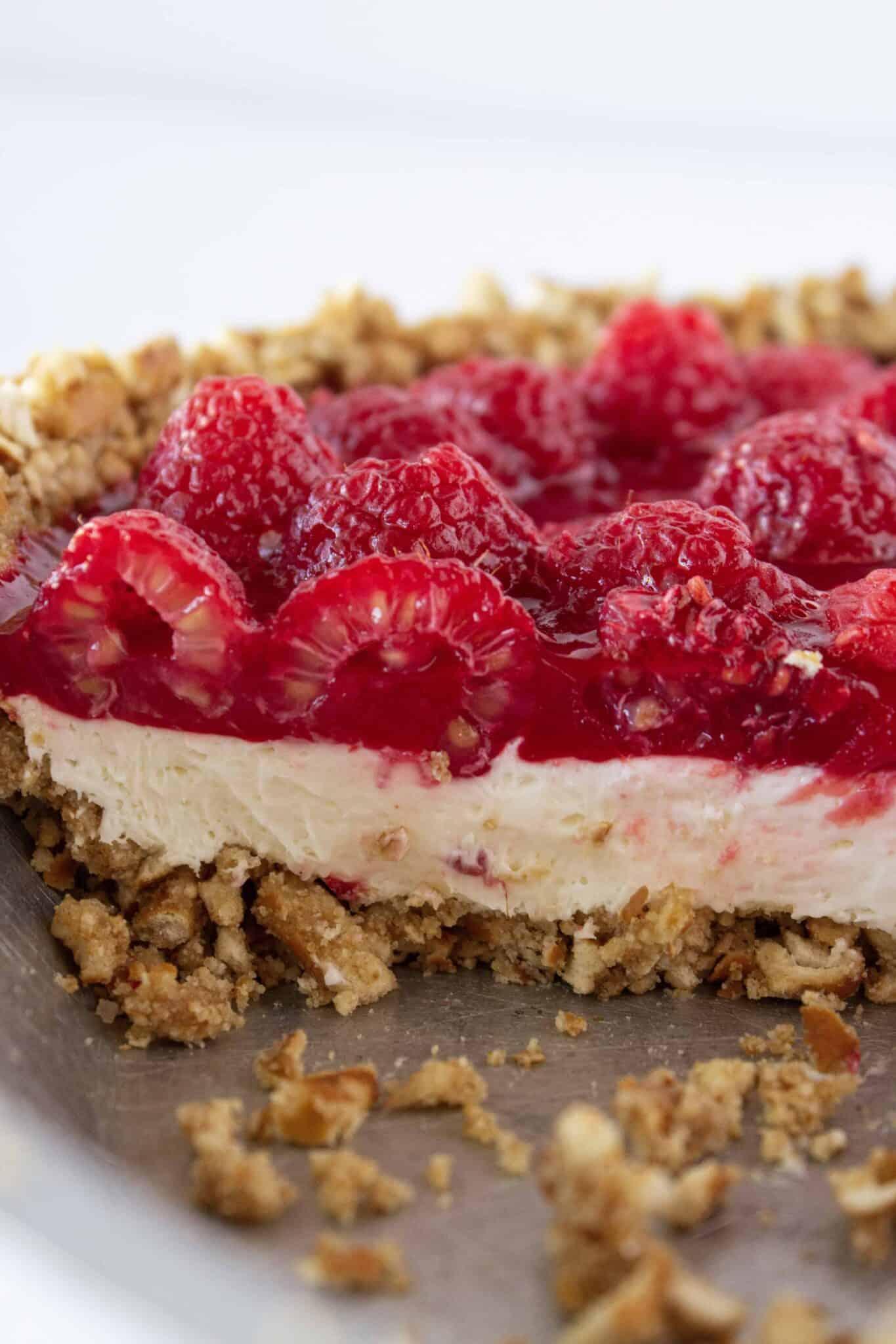 No Bake Raspberry Pretzel Pie Recipe featured by top US dessert blogger, Practically Homemade