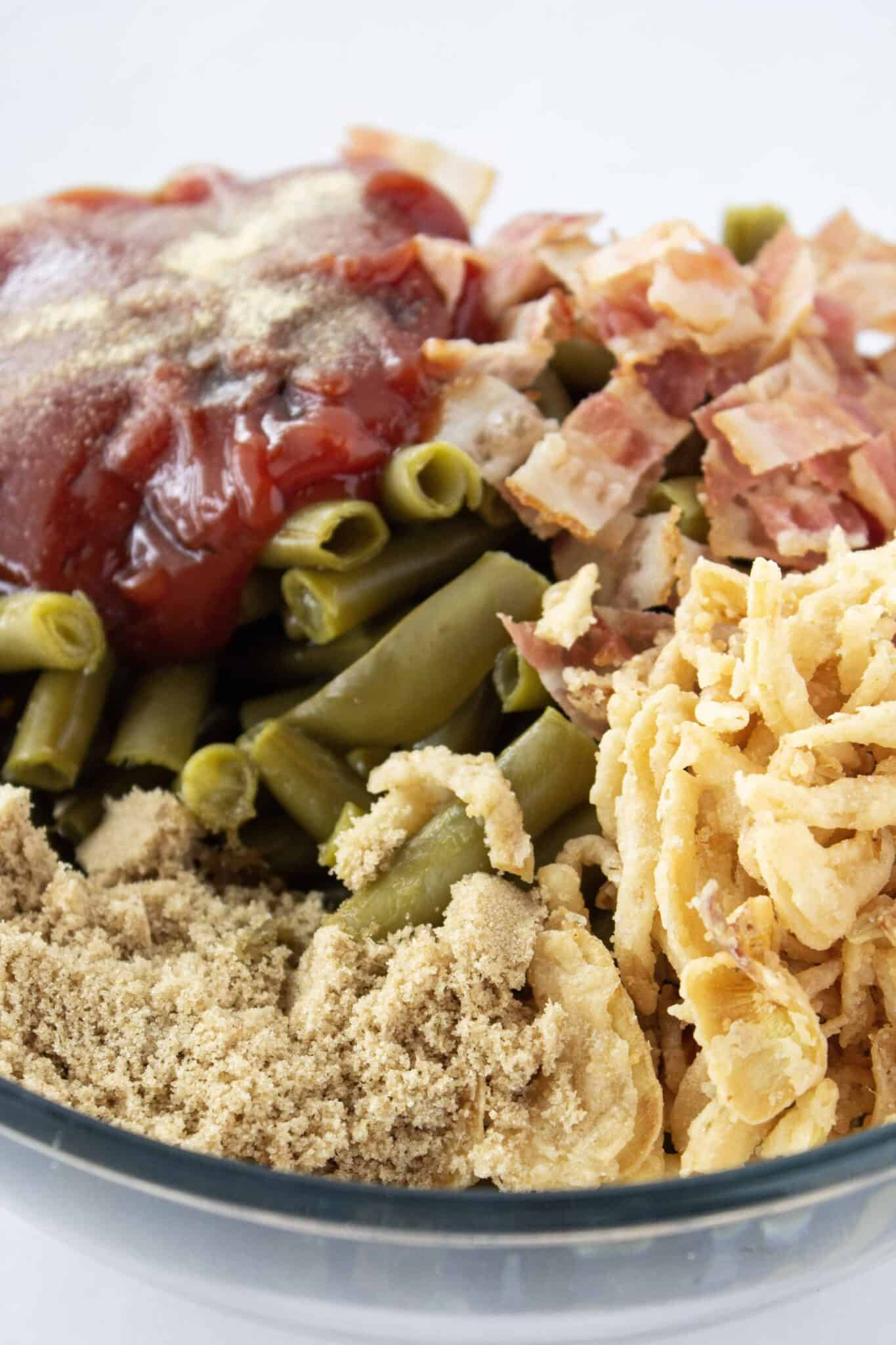 BBQ Green Bean Casserole Recipe featured by top US food blogger, Practically Homemade