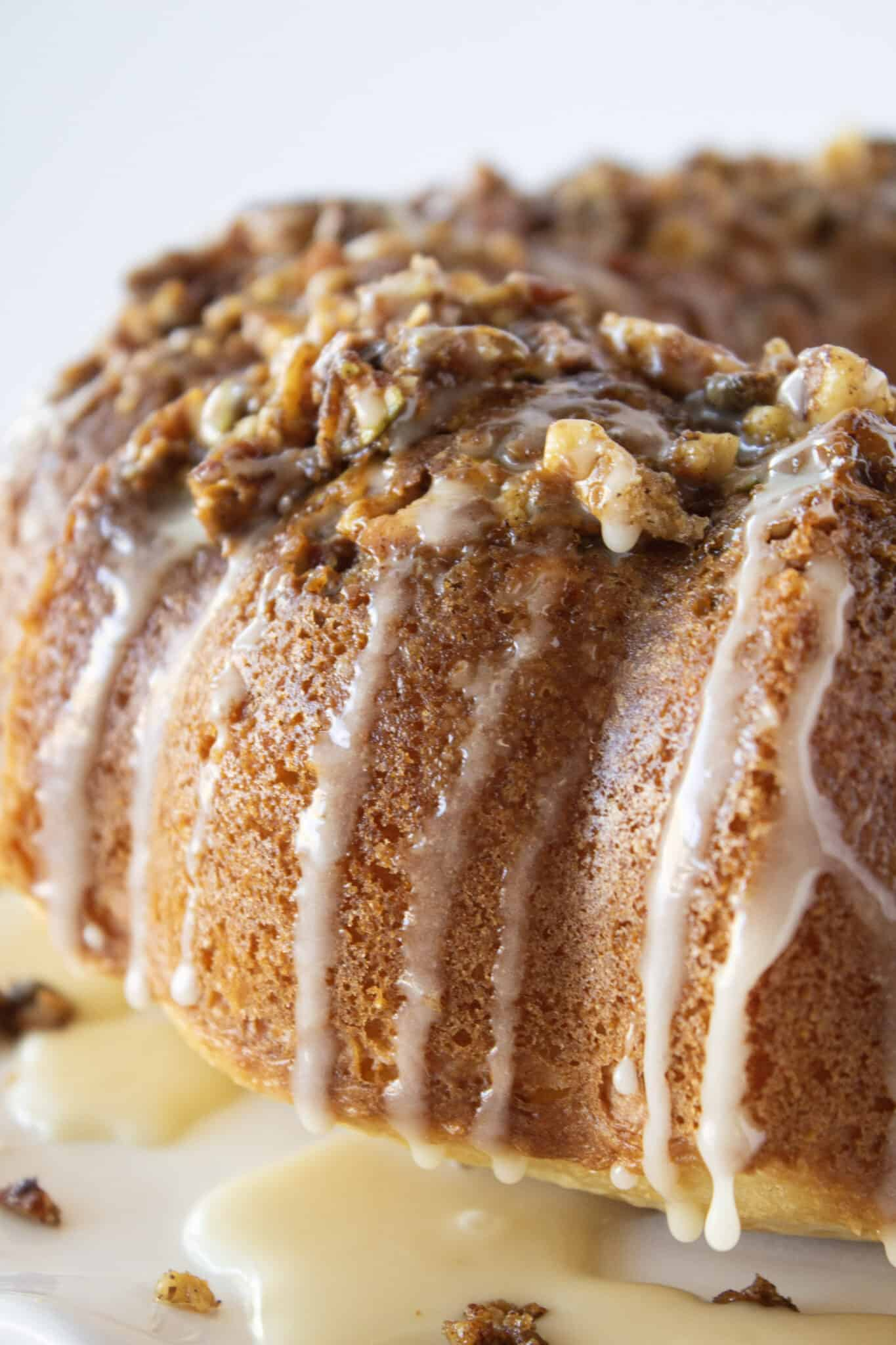 Easy Baklava Bundt Cake Recipe with a Cake Mix featured by top US dessert blogger, Practically Homemade