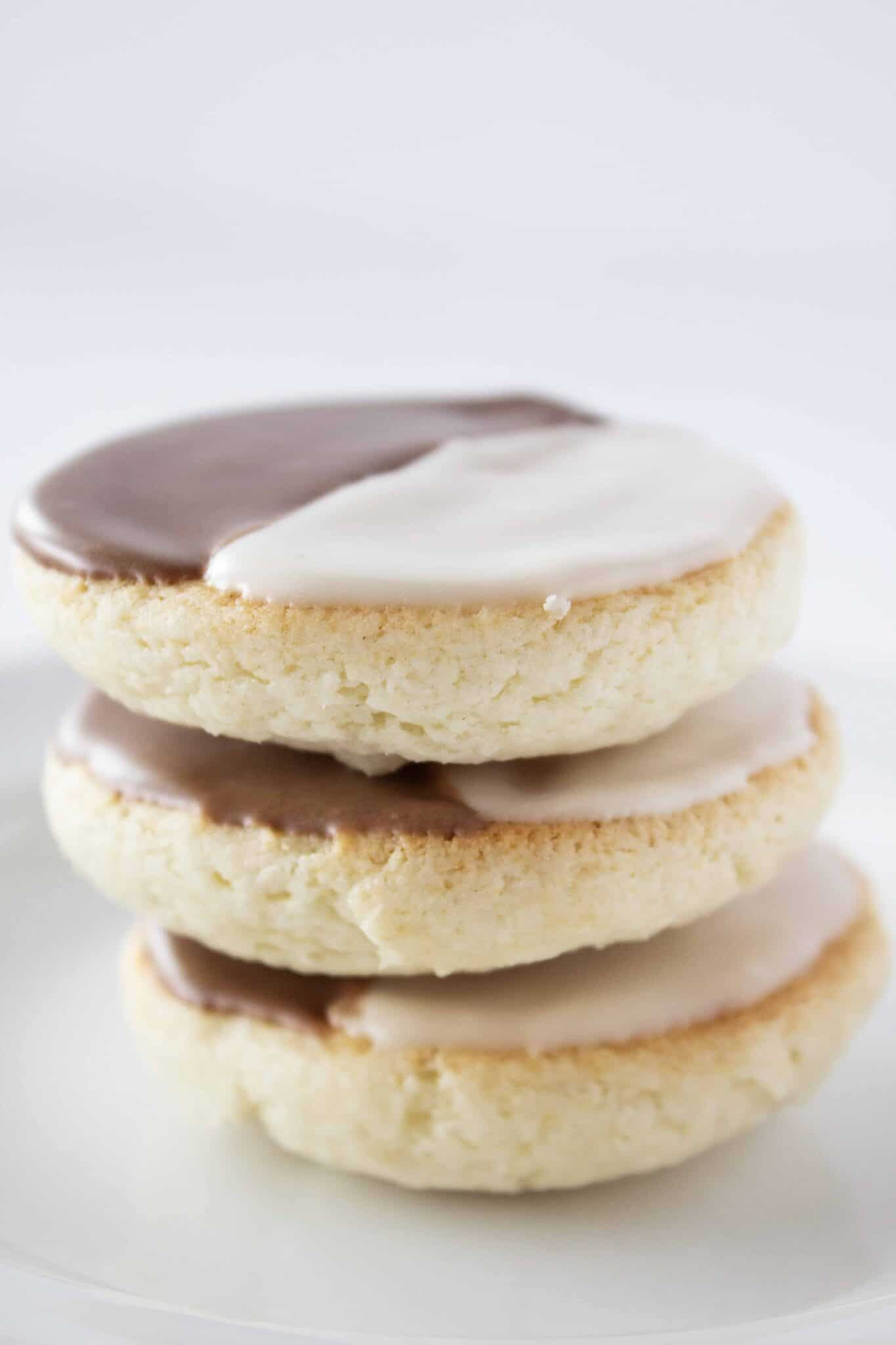 Black & White Half Moon Cookies Recipe with a Cake Mix featured by top US cookie blogger, Practically Homemade