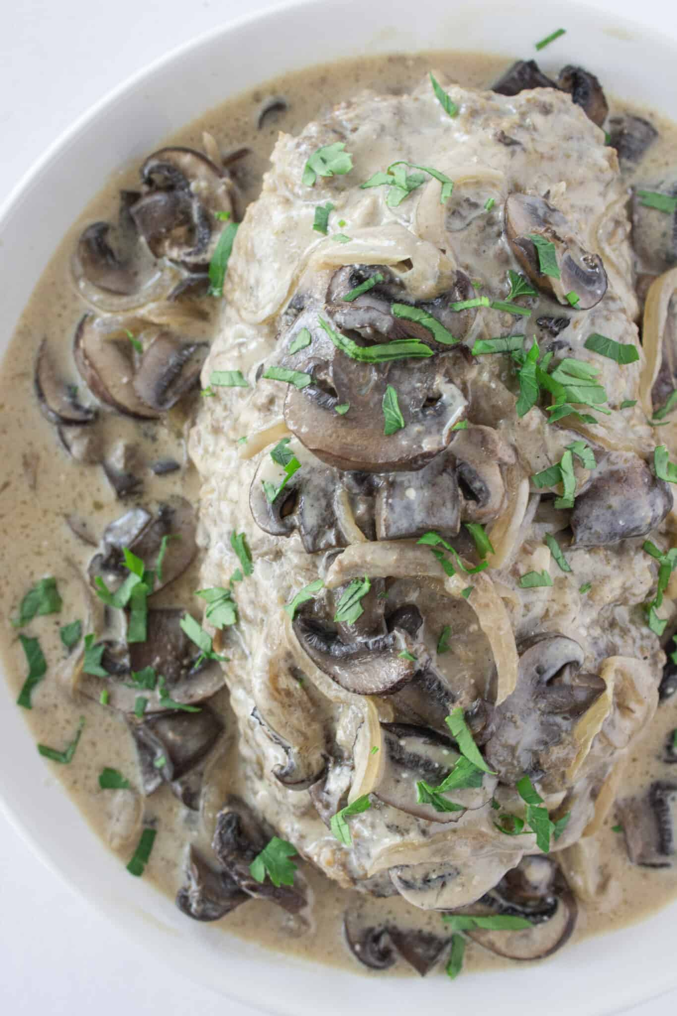 Easy Crock Pot Beef Stroganoff Meatloaf, a winter recipe featured by top US food blogger, Practically Homemade