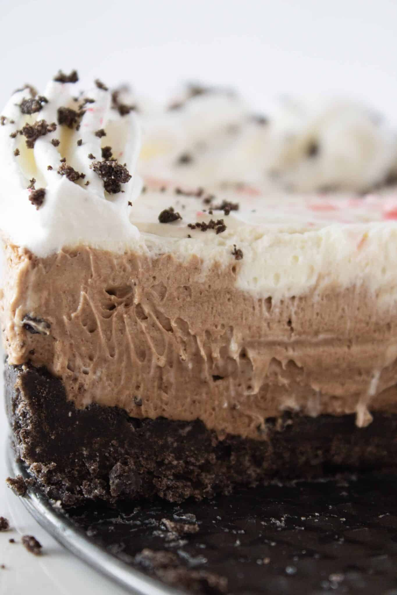 No Bake Peppermint Chocolate Cheesecake recipe by top US dessert blogger, Practically Homemade