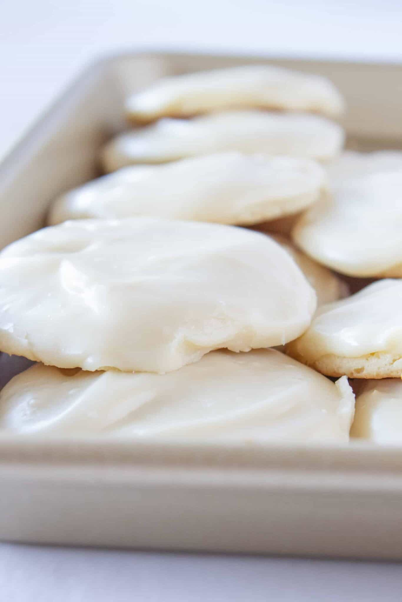 White Sheet Cake Cookies Recipe with a Cake Mix featured by top US cookie blogger, Practically Homemade.