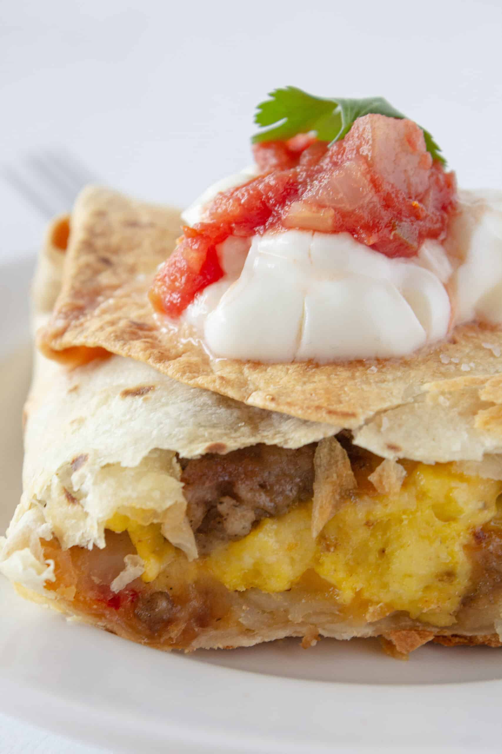 Sheet Pan Breakfast Quesadillas Recipe featured by top US food blogger, Practically Homemade