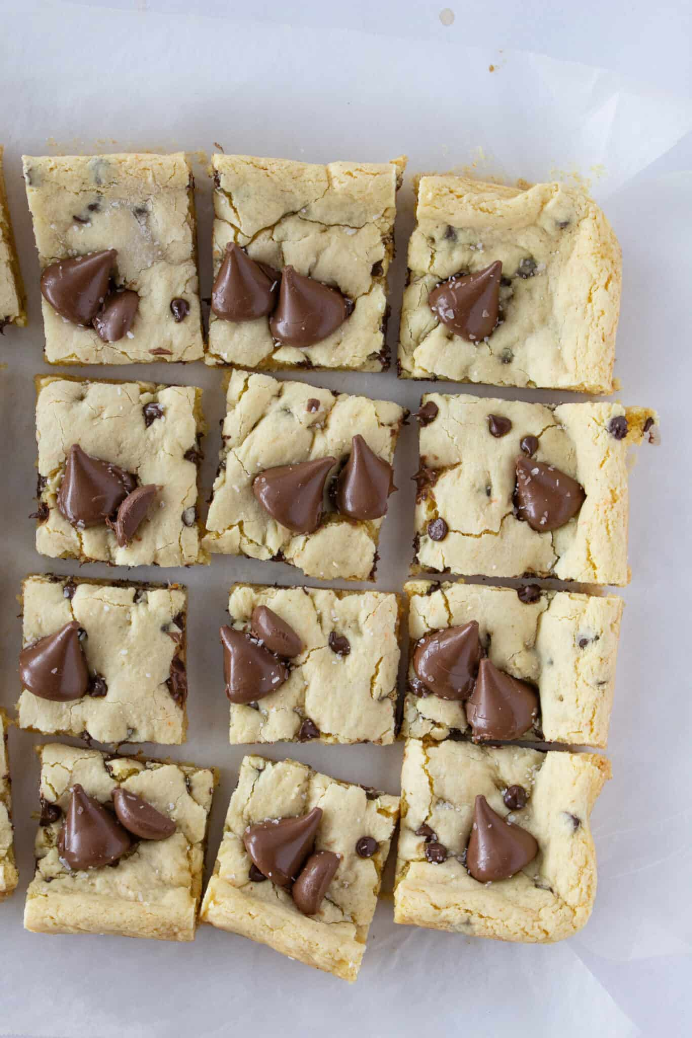 Brown Butter Hersheys Kiss Cookie Bars Made with a Cake Mix featured by top US cookie blogger, Practically Homemade