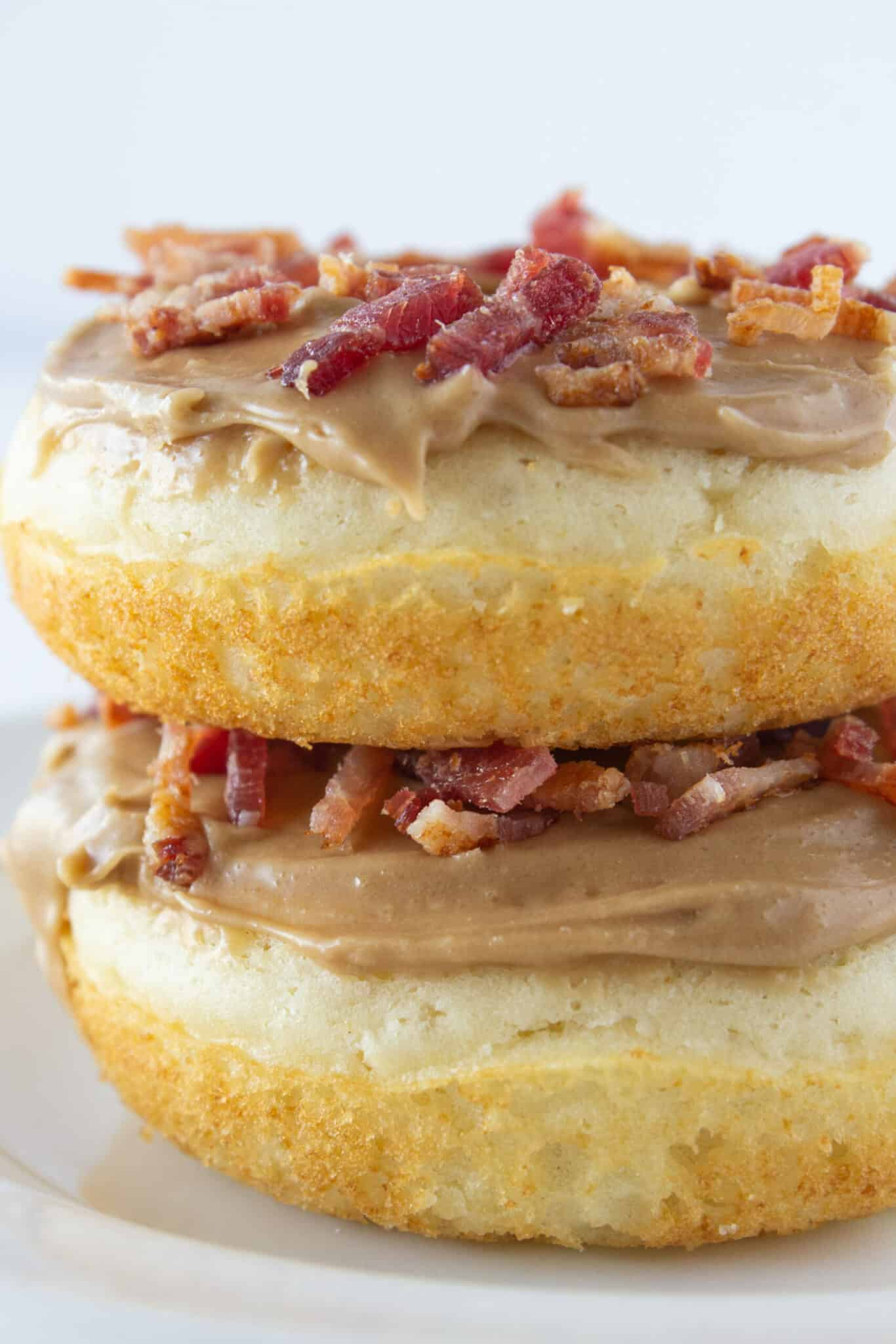 Maple Bacon Donut Recipe with Pancake Mix featured by top US food blogger, Practically Homemade