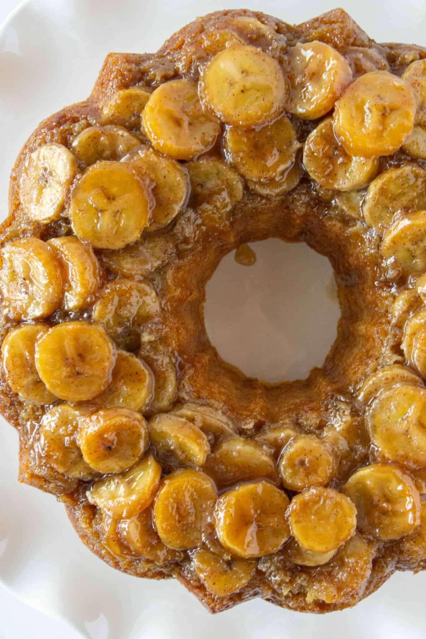 Easy Banana Upside Down Bundt Cake Recipe featured by top US dessert blog, Practically Homemade.