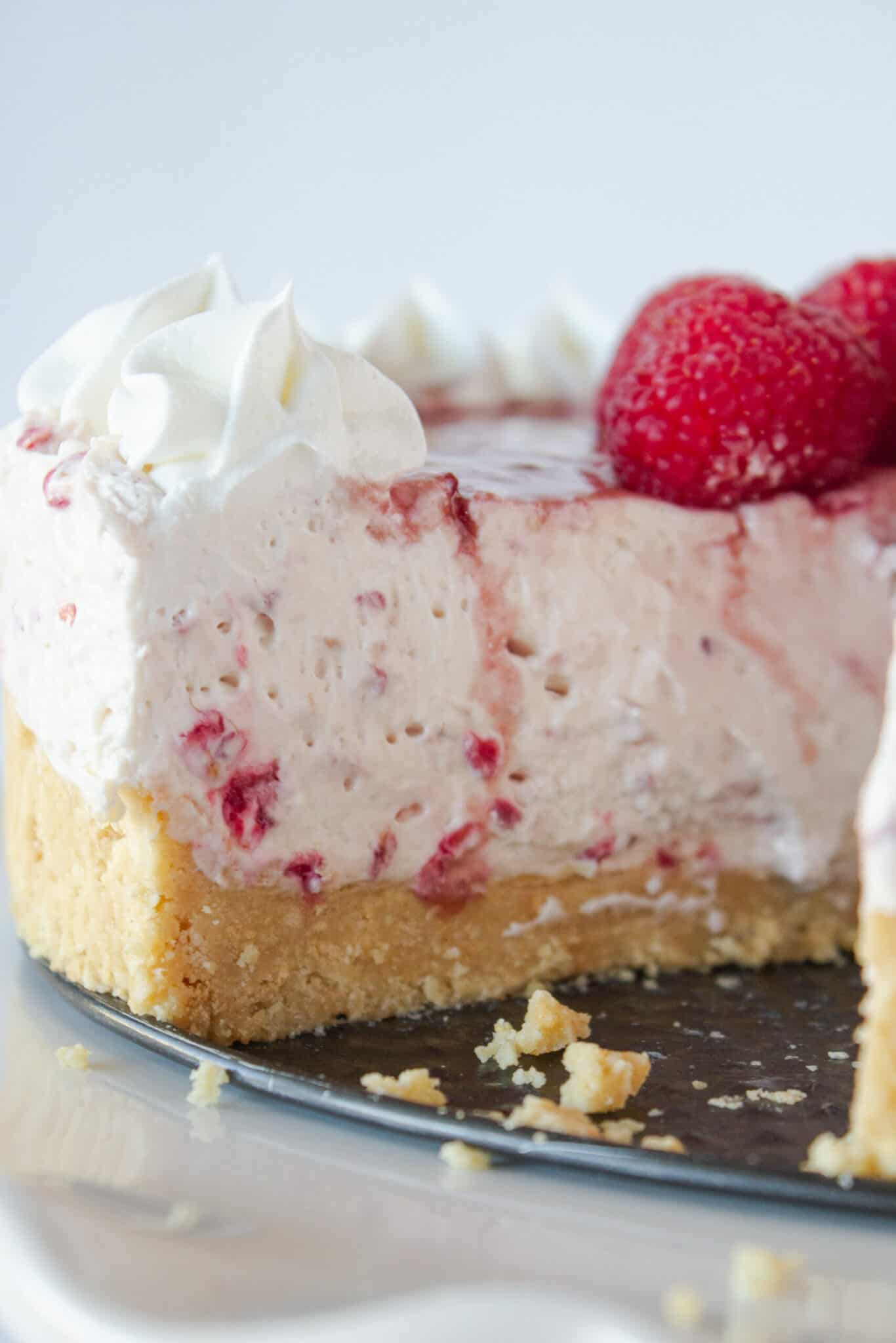 Easy No Bake Raspberry Cheesecake Recipe featured by top US dessert blogger, Practically Homemade