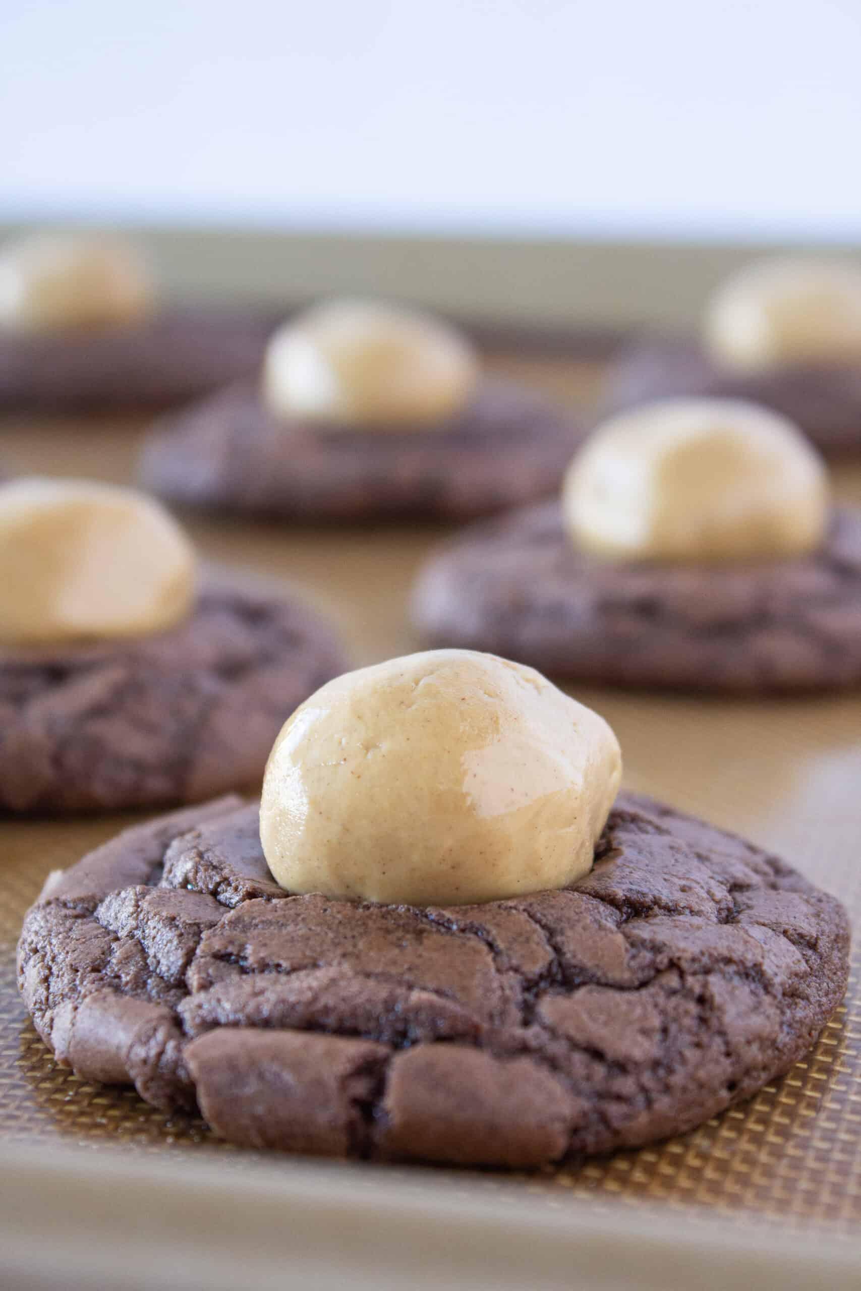 Brownie Mix Cookies: Buckeye Brownie Cookies Recipe featured by top US cookies blog, Practically Homemade