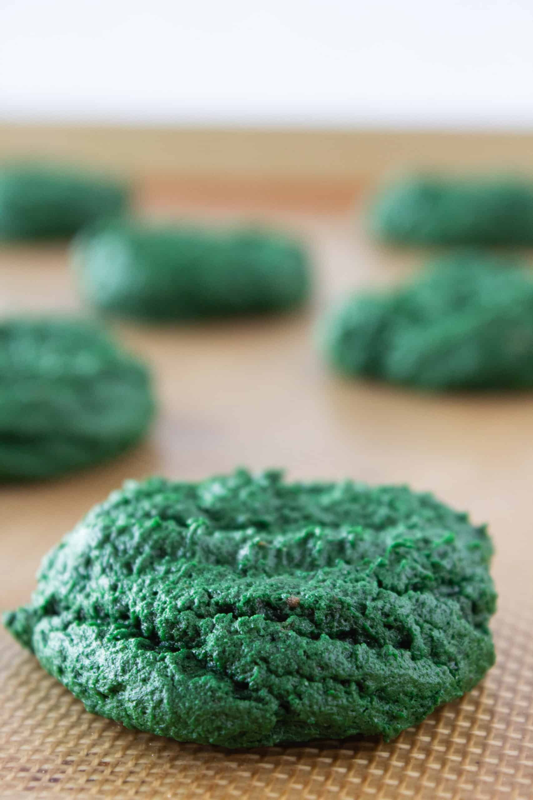 Green Velvet Cream Cheese Cookies with a Cake Mix recipe, perfect for St Patrick's Day, featured by top US cookies blog, Practically Homemade
