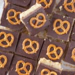 Easy No Bake Millionaire Bars Recipe featured by top US dessert blogger, Practically Homemade