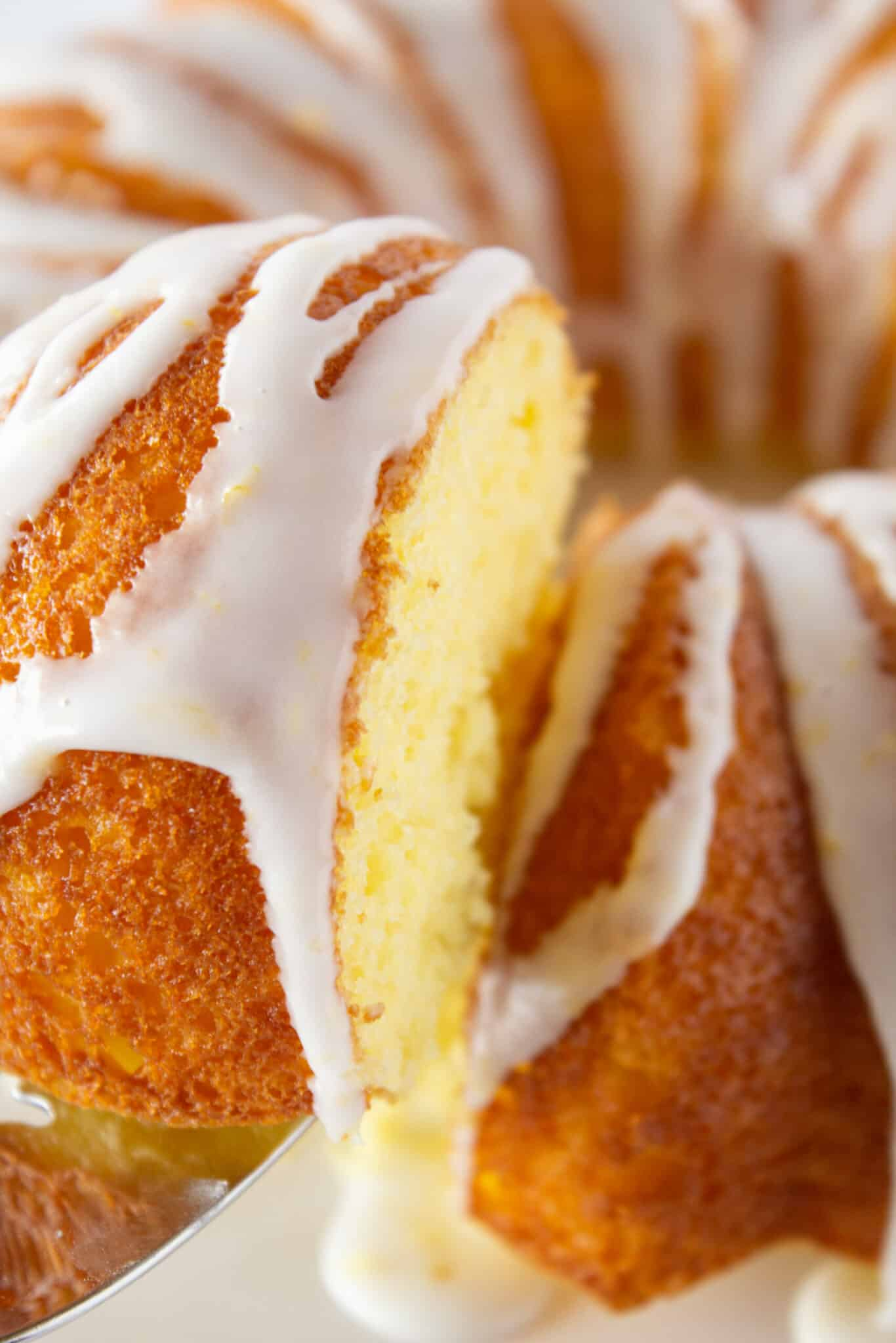 Lemon Pound Bundt Cake Recipe with a Cake Mix featured by top US dessert blogger, Practically Homemade