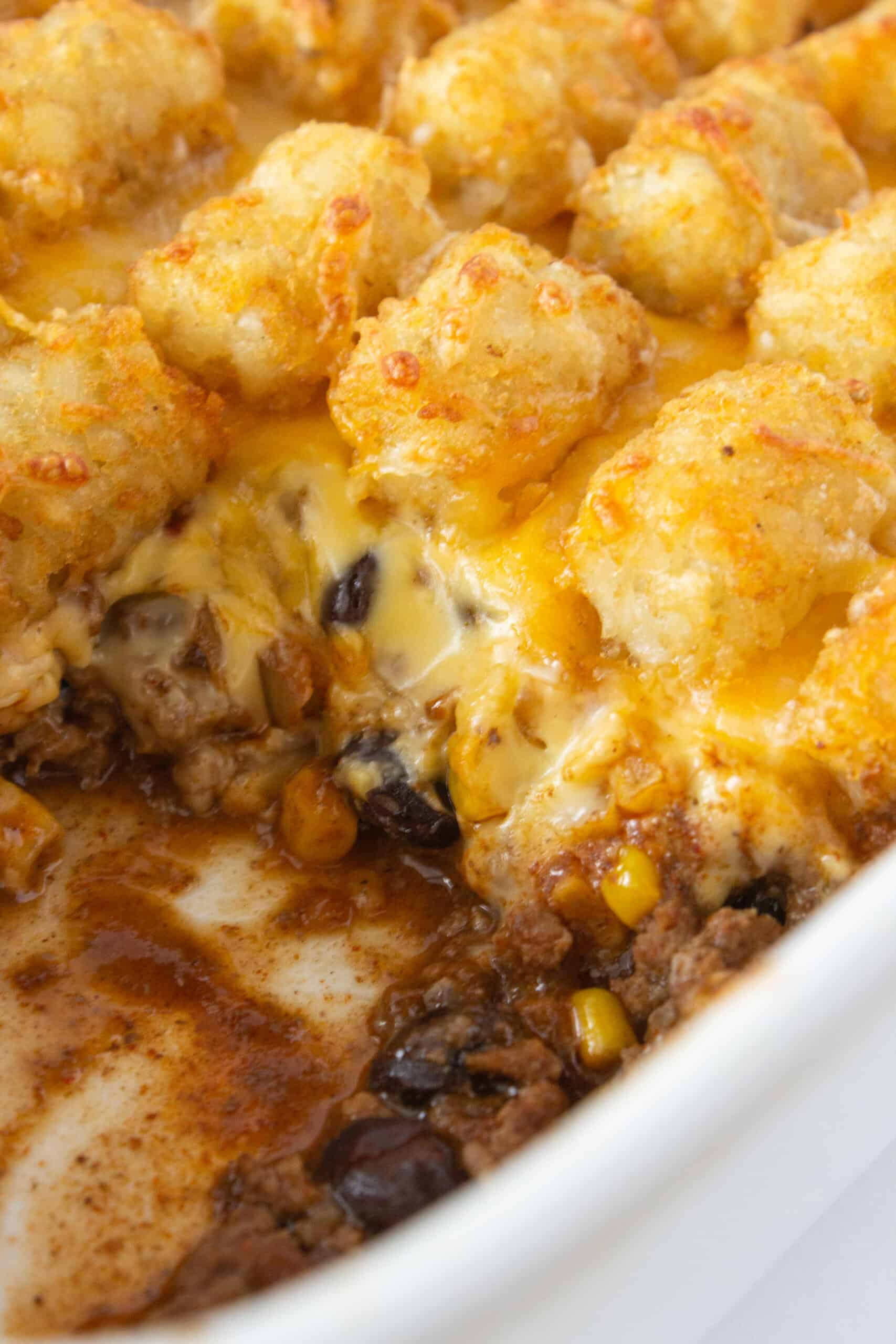 Easy Casserole Recipe: Totcho Casserole featured by top US food blogger, Practically Homemade