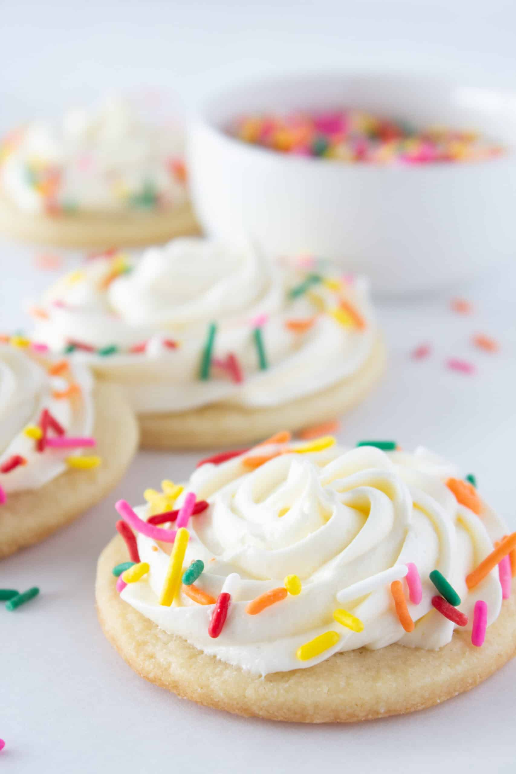 Easy Spring Sugar Cookies with Marshmallow Buttercream, a recipe featured by top US cookies blogger, Practically Homemade