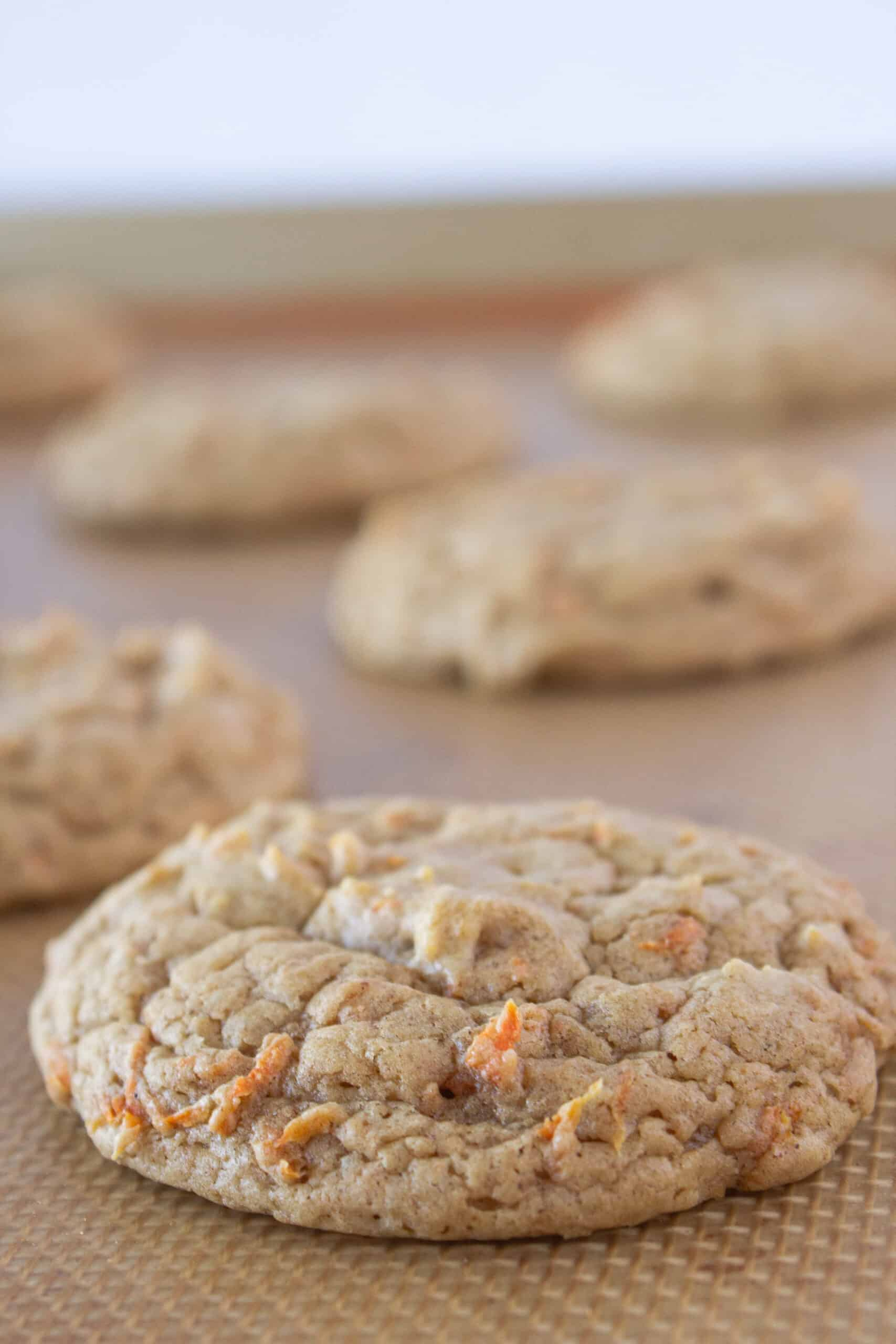 Carrot Cake Sheet Cake Cookies Recipe with a Cake Mix featured by top US cookie blogger, Practically Homemade