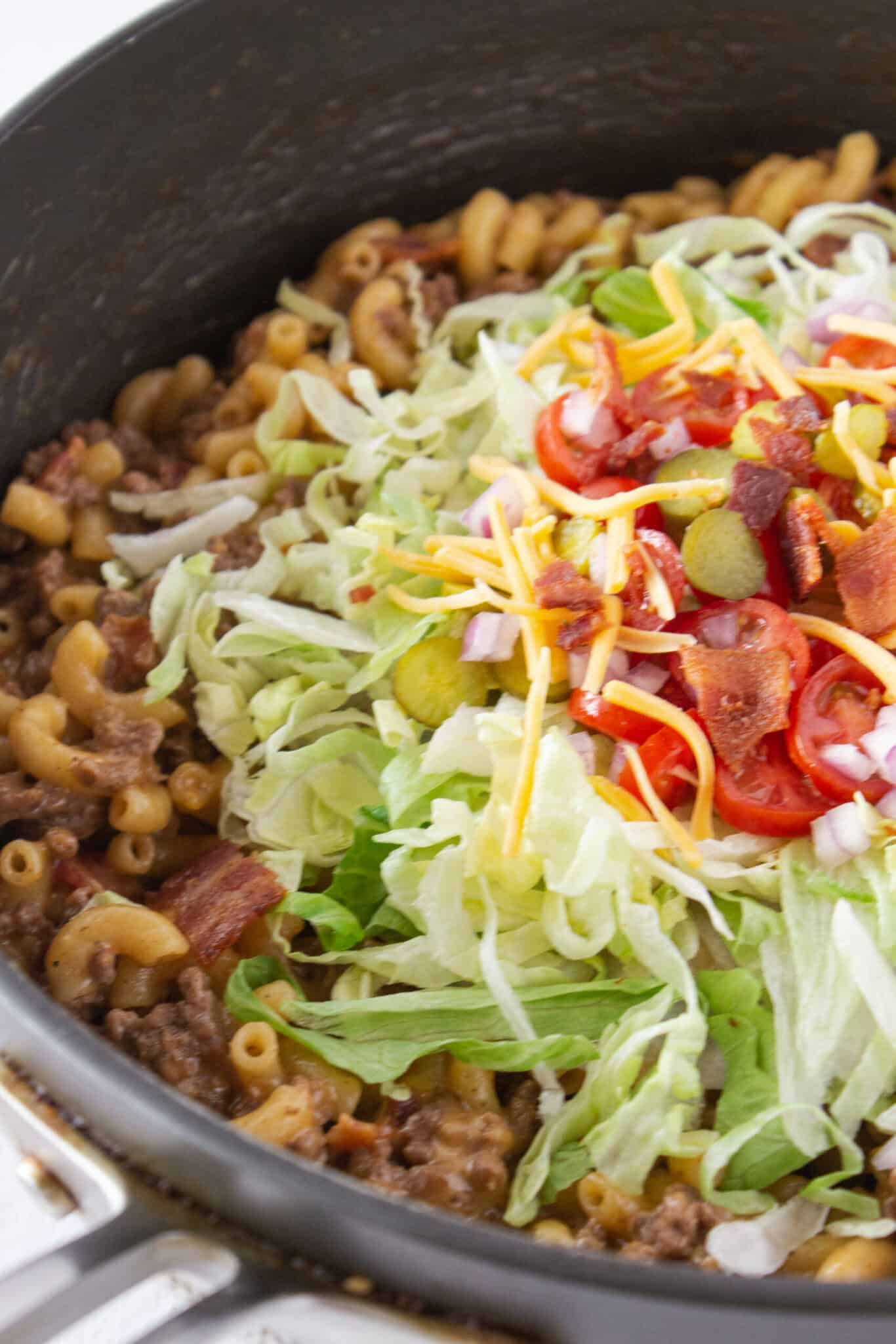 Weeknight Dinners: Easy Bacon Cheeseburger Pasta Skillet, a Recipe featured by top US food blogger, Practically Homemade