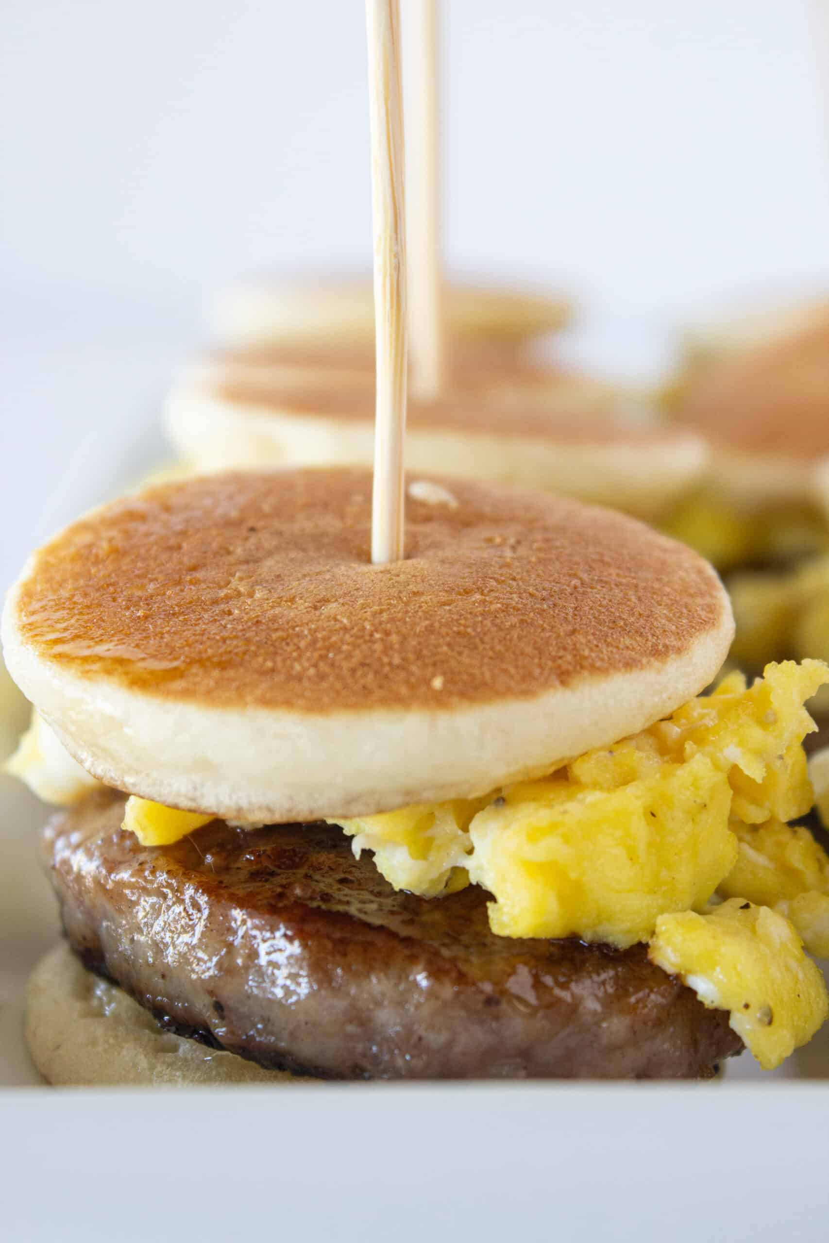Pancake Sausage and Egg Sliders recipe featured by top US food blogger, Practically Homemade