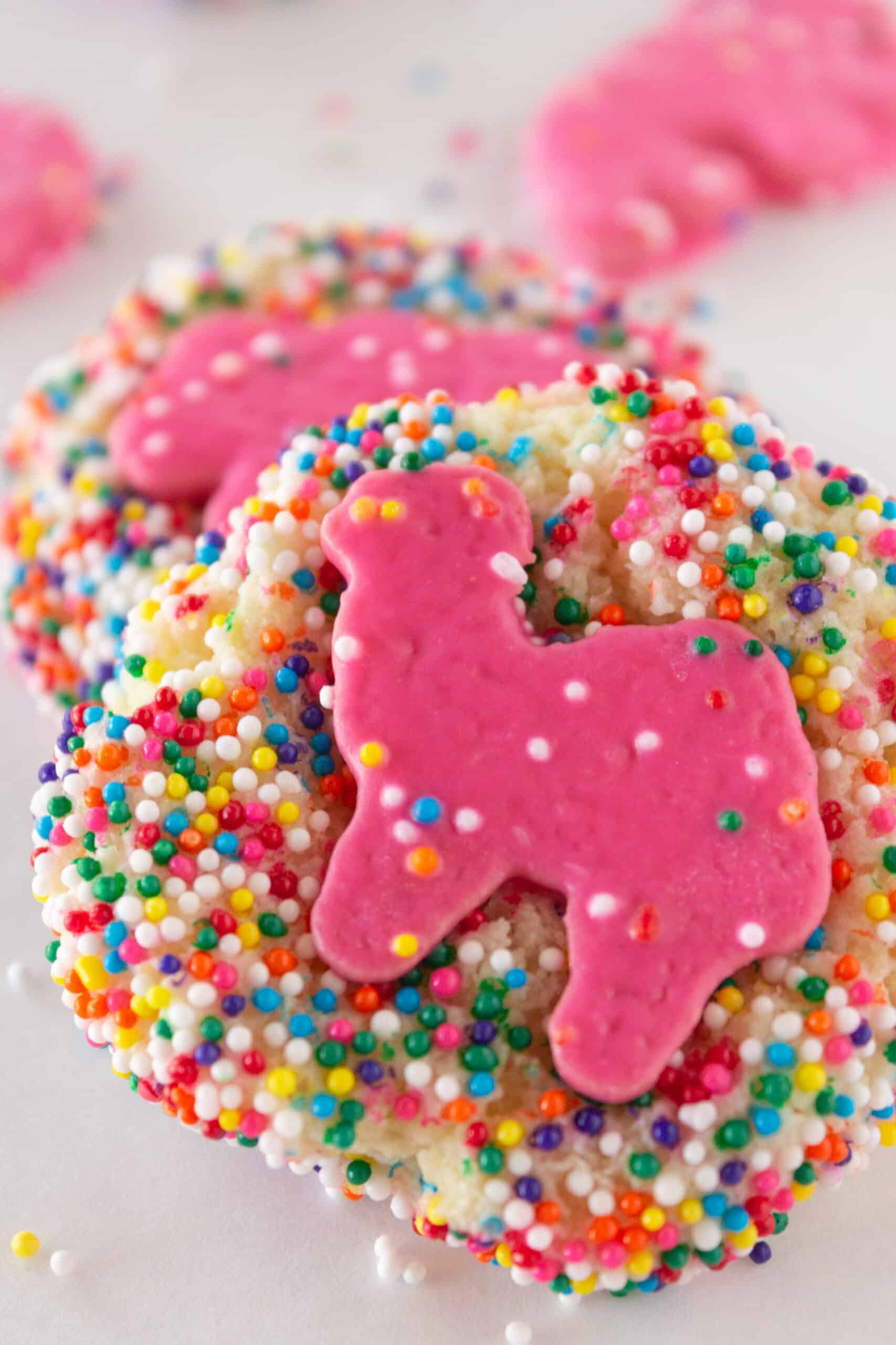 Frosted Animal Cookies Recipe made with a cake mix, featured by top US cookies blogger, Practically Homemade