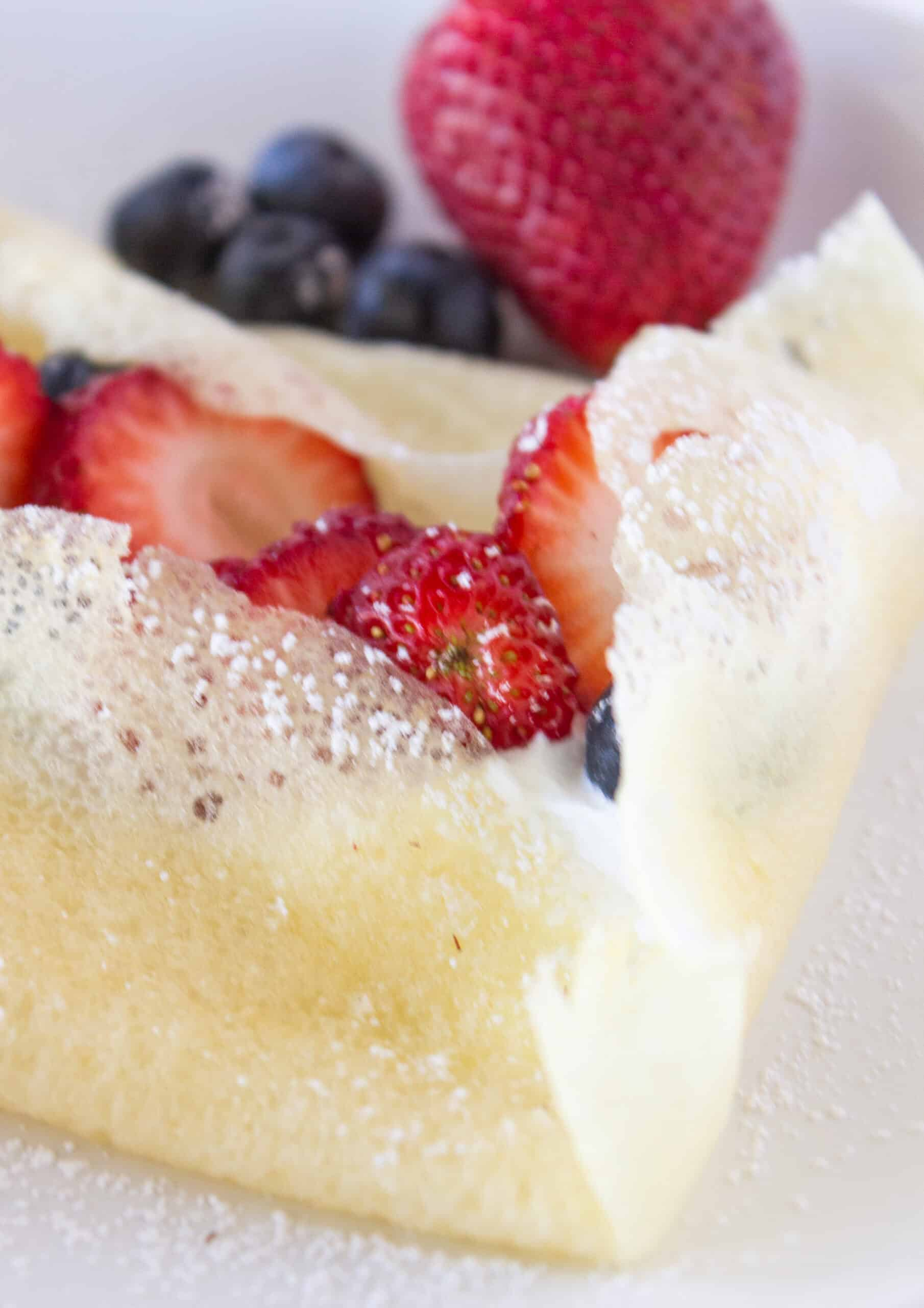 Sunday Breakfast: Easy Pancake Mix Crepes Recipe featured by top US food blogger, Practically Homemade