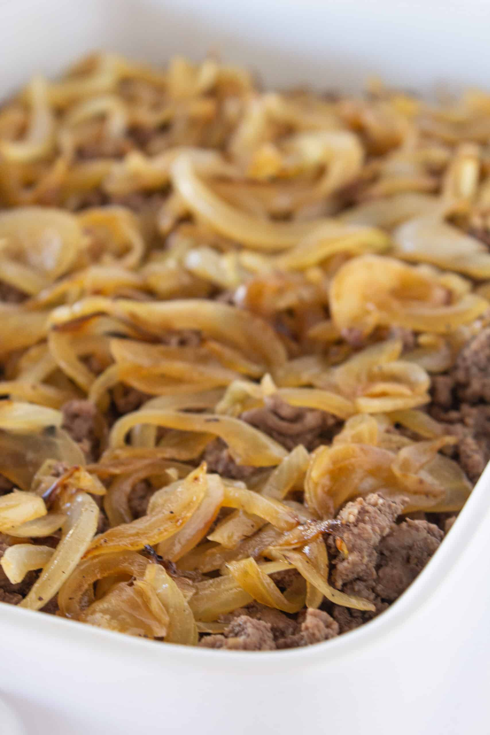 Classic Patty Melt Casserole Recipe featured by top US food blogger, Practically Homemade