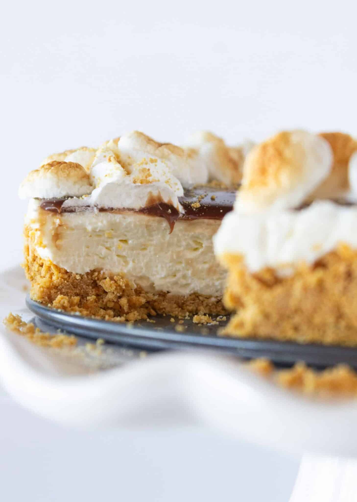No Bake S'mores Cheesecake recipe featured by top US dessert blogger, Practically Homemade