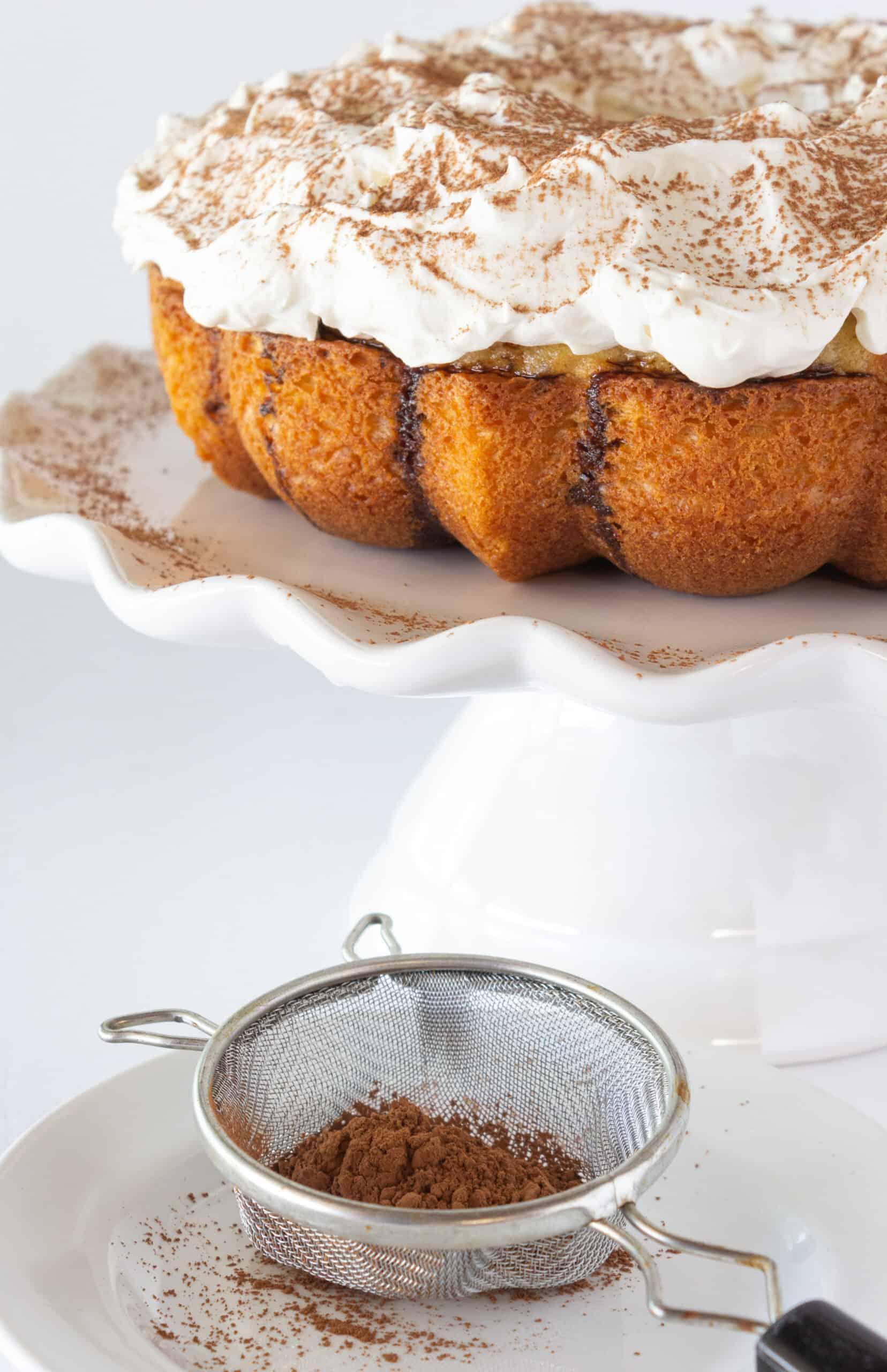 Tiramisu Bundt Cake Recipe featured by top US desserts blogger, Practically Homemade