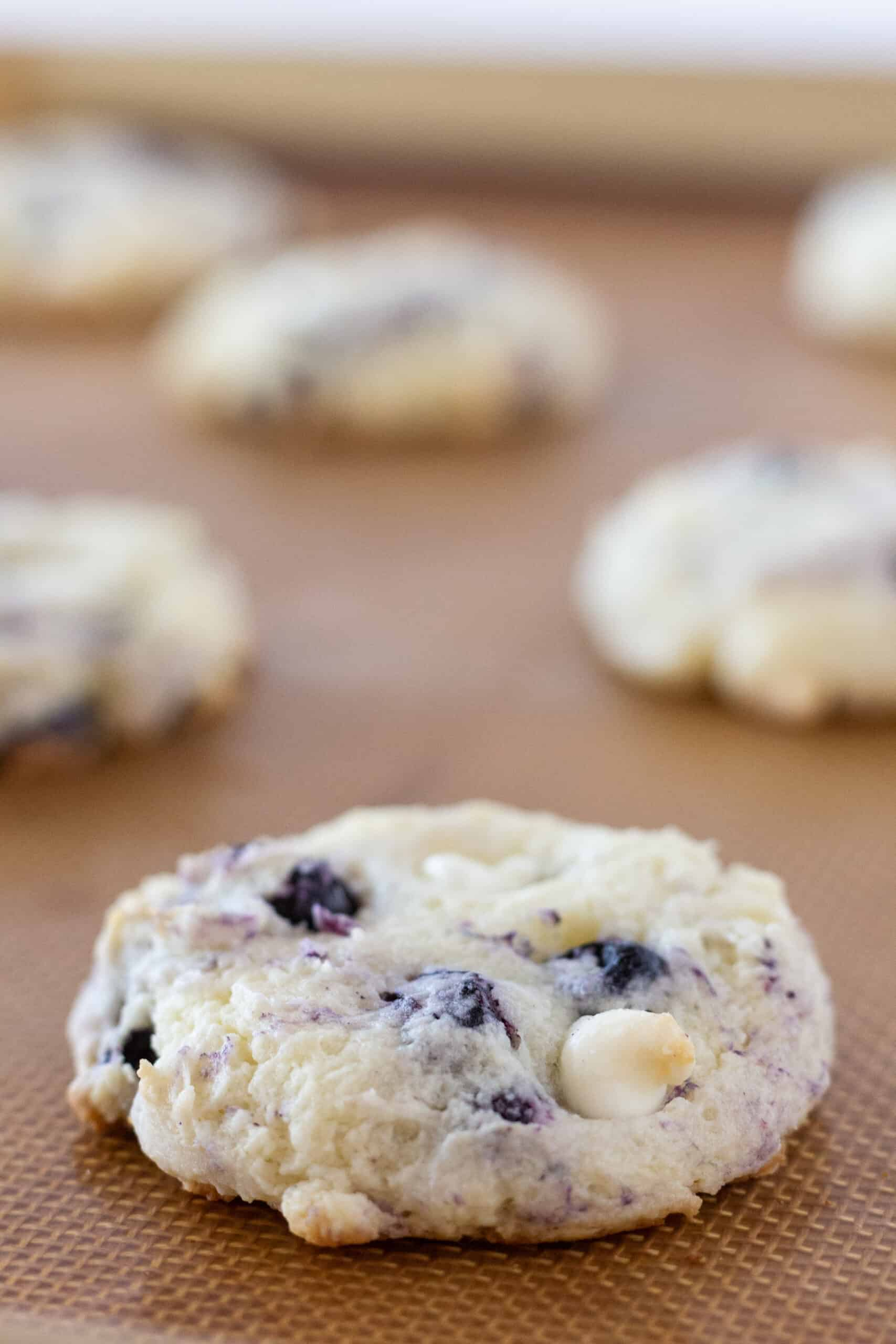Easy Blueberry Cheesecake Cookies Recipe with a Cake Mix featured by top US cookies blogger, Practically Homemade