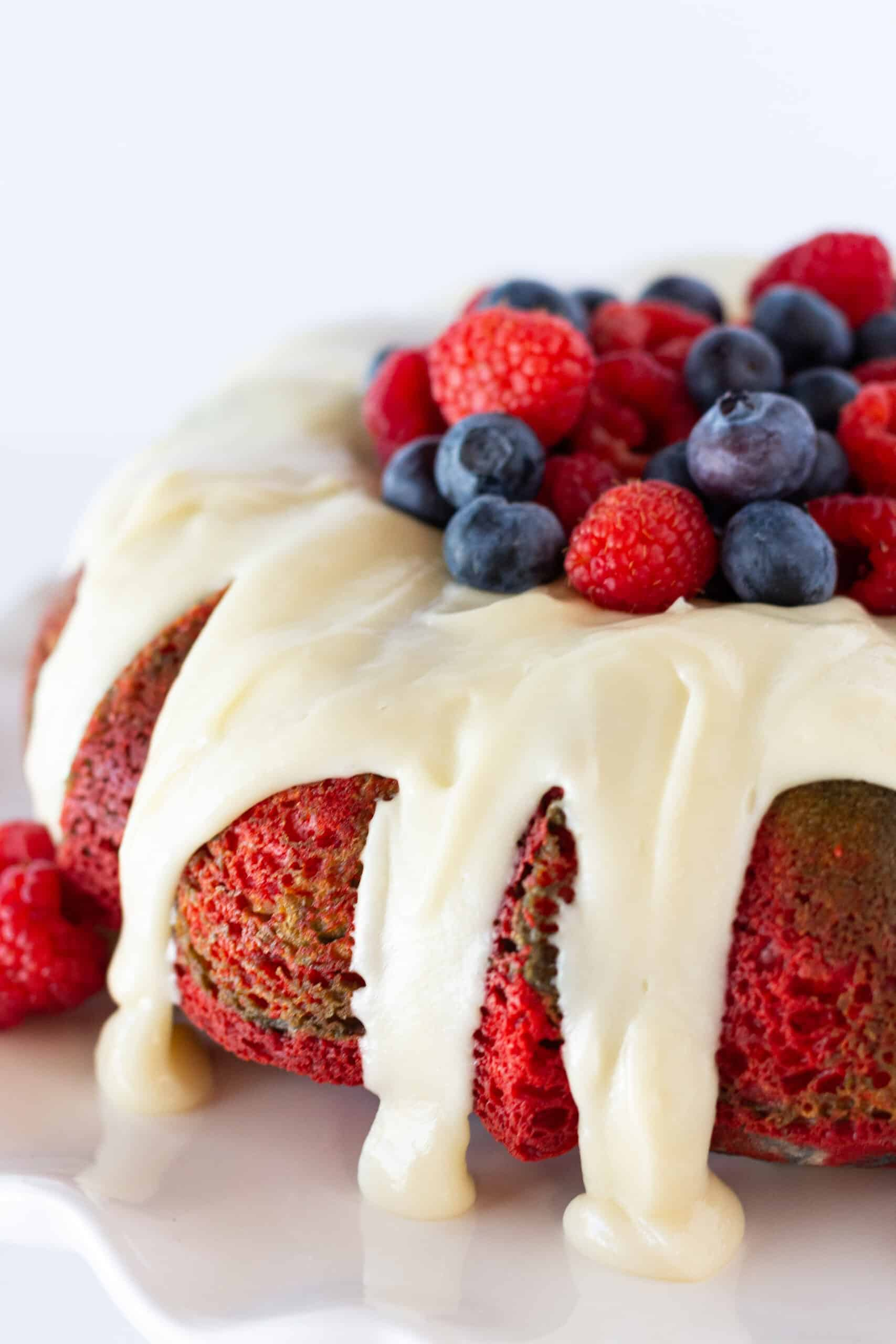 Red White and Blue Velvet Bundt Cake Recipe with a Cake Mix, an Easy 4th of July Dessert Idea featured by top US dessert blogger, Practically Homemade