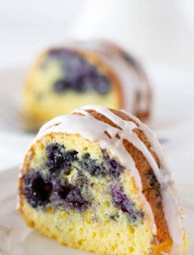 Blueberry Bundt Cake with a Cake Mix featured by top US dessert blogger, Practically Homemade