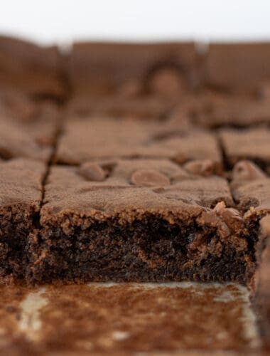 Easy Cake Mix Brownies Recipe featured by top US dessert blogger, Practically Homemade
