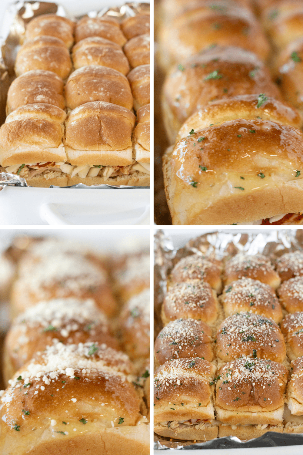 Easy Shredded Chicken Parmesan Sliders featured by top US food blogger, Practically Homemade
