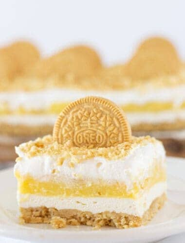 Golden Oreo Lasagna Recipe featured by top US dessert blogger, Practically Homemade