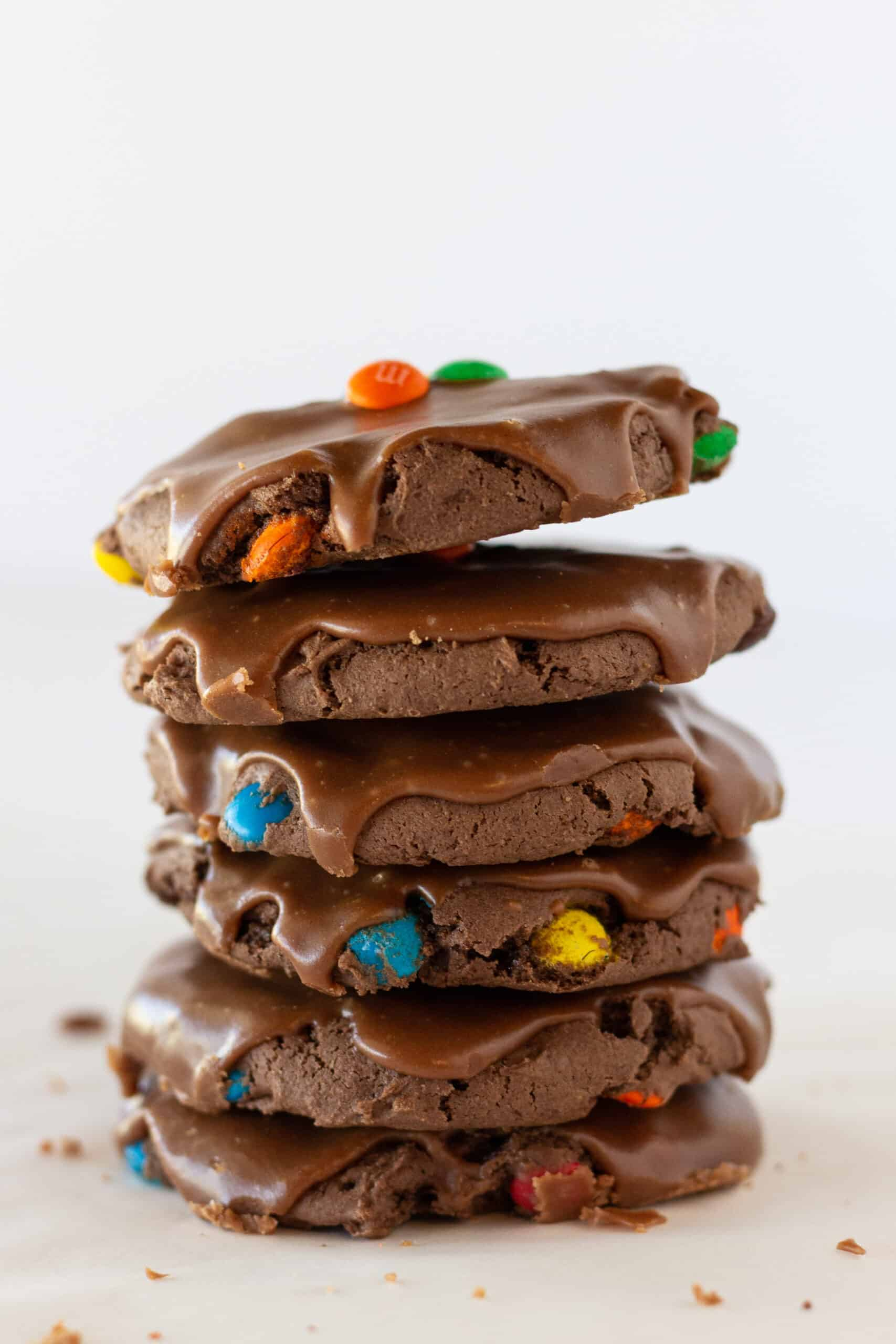 M & M Sheet Cake Cookies Recipe with a Cake Mix featured by top US cookies blogger, Practically Homemade