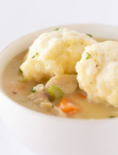 Easy Pancake Mix Chicken and Dumplings Recipe by top US easy recipes blogger, Practically Homemade