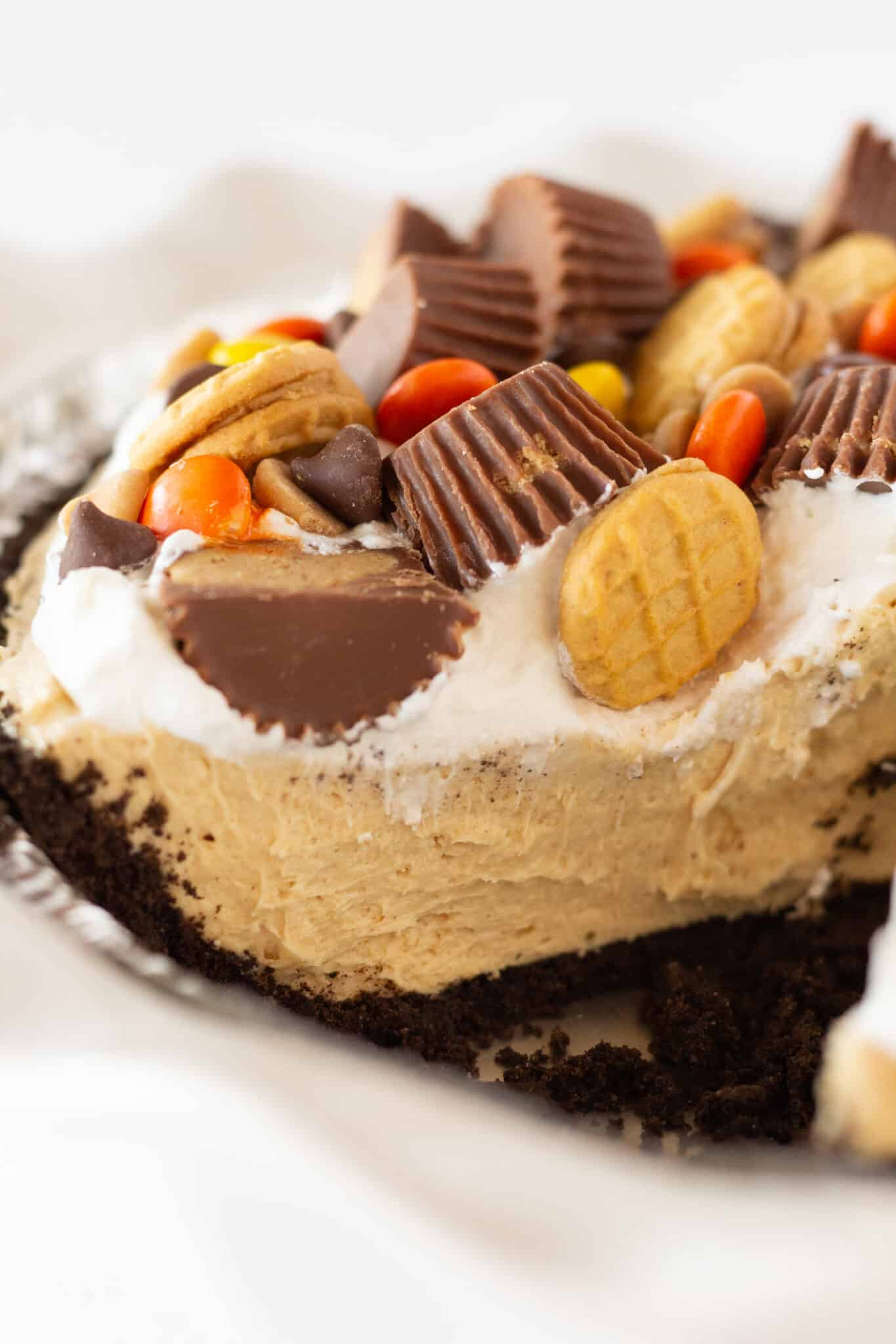 No Bake Peanut Butter Pie Recipe perfect for Thanksgiving, featured by top US dessert blogger, Practically Homemade
